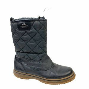 Coach Samara Quilted Winter Snow Black Boots Sz 8